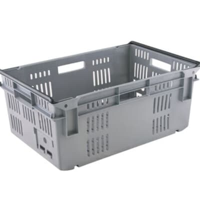 Re-Crate Crate, 600L x 400W x 394H, 75L, standard base, grey