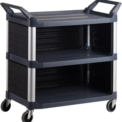 3 Tier Cart with 3 Sides, 850L x 470W x 960H, Black