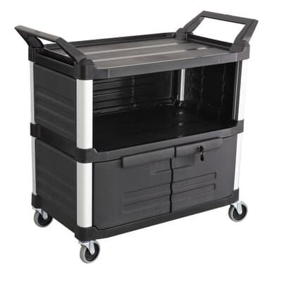 3 Tier Equipment Cart, 850L x 470W x 960H, Black