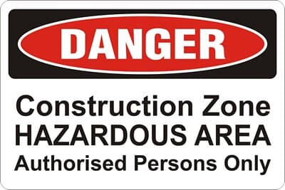 """Corflute Sign, 400 x 600mm, """"Construction Zone - Hazardous Area Authorised Persons Only"""