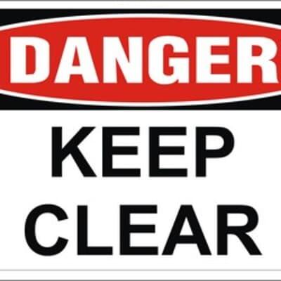 Keep Clear PVC, 240 x 300mm, DANGER CYO
