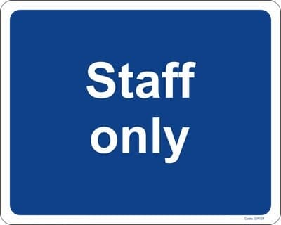 """PVC Sign, 300 x 240mm, """"Staff only"""""""