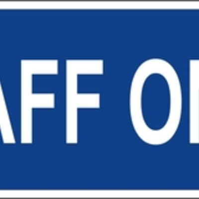 """PVC Sign, 120 x 300mm, """"Staff only"""""""
