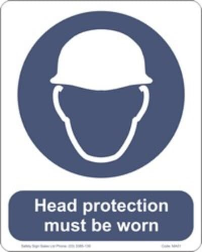 """PVC Sign, 300 x 240mm, """"Head protection must be worn"""""""