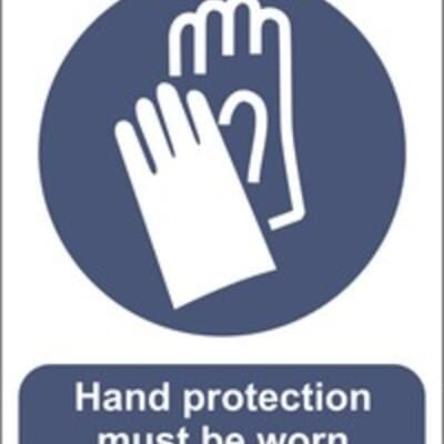 """PVC Sign, 300 x 240mm, """"Hand protection must be worn"""""""