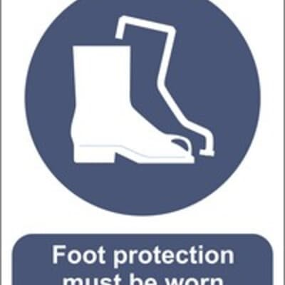 "PVC Sign, 300 x 240mm, ""Foot protection must be worn"""