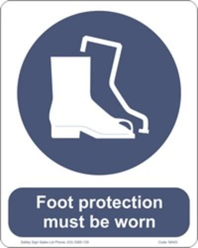 """PVC Sign, 300 x 240mm, """"Foot protection must be worn"""""""