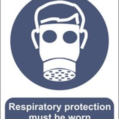 "PVC Sign, 300 x 240mm, ""Respiratory protection must be worn"""