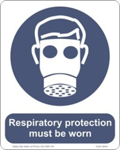 """PVC Sign, 300 x 240mm, """"Respiratory protection must be worn"""""""