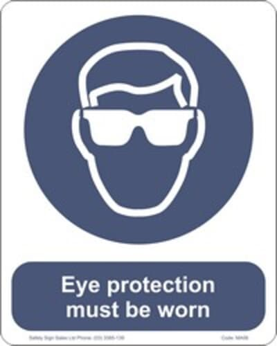 """PVC Sign, 300 x 240mm, """"Eye protection must be worn"""""""