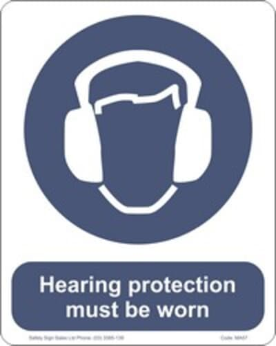 """PVC Sign, 300 x 240mm, """"Hearing protection must be worn"""""""