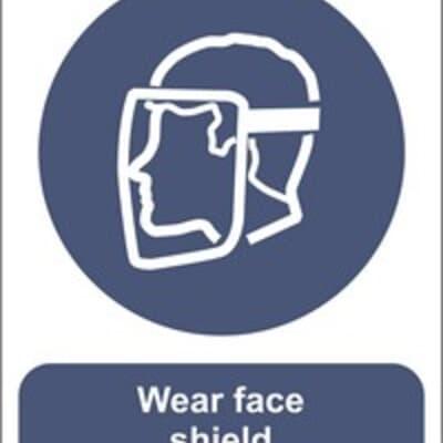 "PVC Sign, 300 x 240mm, ""Wear face shield"""
