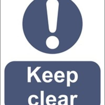 "PVC Sign, 300 x 240mm, ""Keep clear"""