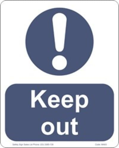"""PVC Sign, 300 x 240mm, """"Keep out"""""""