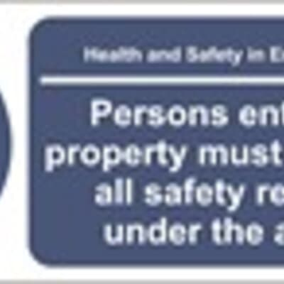 """PVC Sign, 550 x 200mm, """"Persons entering this site must comply with all safety regulations under the above act"""""""