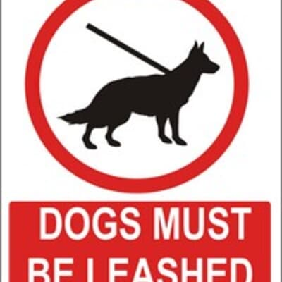 "PVC Sign, 300 x 240mm, ""Dogs must be leashed"""