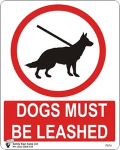 """PVC Sign, 300 x 240mm, """"Dogs must be leashed"""""""
