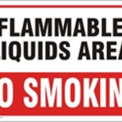 "PVC Sign, 300 x 480mm, ""Flammable liquids area - no smoking"""