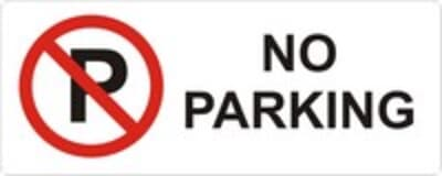 "PVC Sign, 120 x 300mm, ""No parking"""