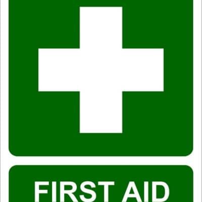 "PVC Sign, 300 x 240mm, ""First Aid"" + symbol"
