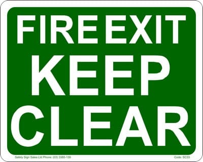 """PVC Sign, 300 x 240mm, """"Fire exit - keep clear"""""""