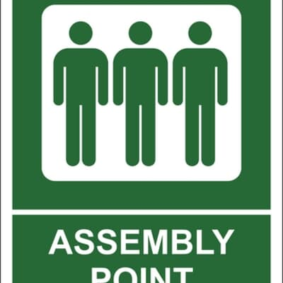"""PVC Sign, 300 x 240mm, """"Assembly point"""""""