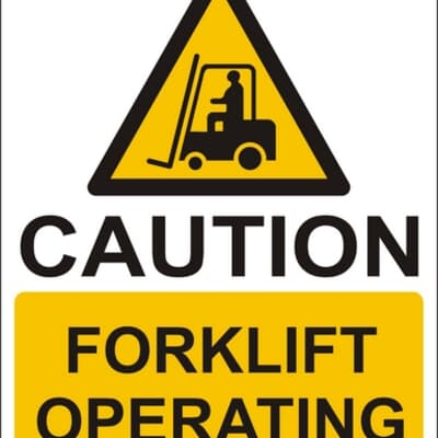 """PVC Sign, 300 x 240mm, """"Caution forklift operating"""""""