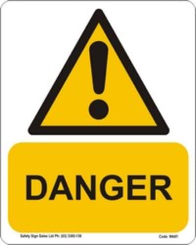 "PVC Sign, 300 x 240mm, ""Danger"""