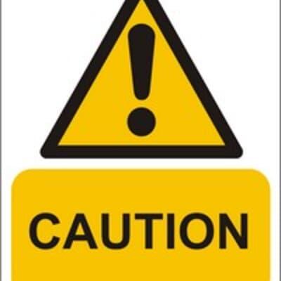 """PVC Sign, 300 x 240mm, """"Caution"""""""