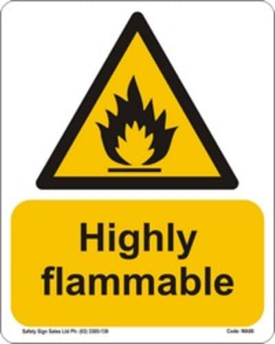 """PVC Sign, 300 x 240mm, """"Highly Flammable"""""""