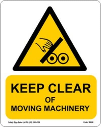 """PVC Sign, 300 x 240mm, """"Keep clear of moving machinery"""""""