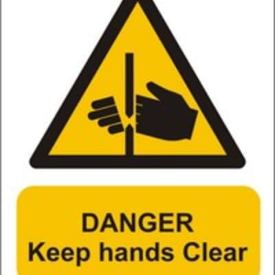 "PVC Sign, 300 x 240mm, ""Danger keep hands clear"""
