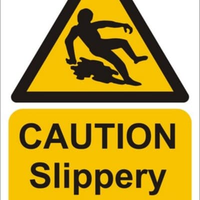 """PVC Sign, 480 x 300mm, """"Caution slippery when wet"""""""