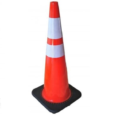 Economy PVC Cone, 910mm high, with reflective tape