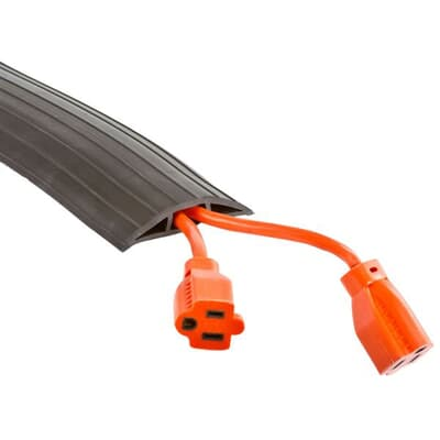 Office Cord Cover, Black, 64mm Wide, 7mm High, Per Metre