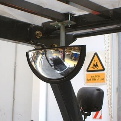 Forklift Half Dome Mirror, 220x110mm, with bracket