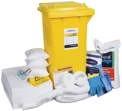 Mobile Spill Kit, aggressive, absorbs 200L, red 240L wheelie bin