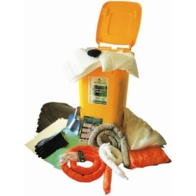 Mobile Spill Kit, oil only, absorbs 200L, yellow 240L wheelie bin