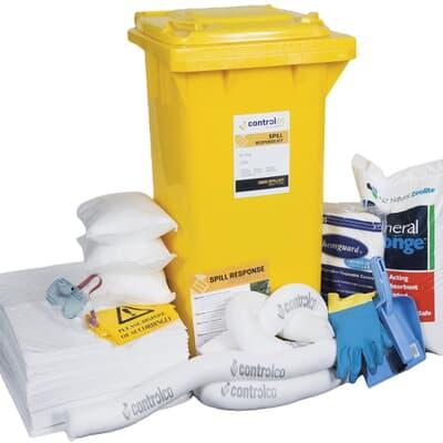 Mobile Spill Kit, oil only, absorbs 100L, yellow 120L wheelie bin