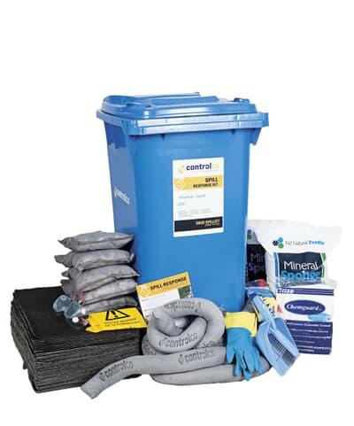 Mobile Spill Kit, universal, absorbs 200L, blue 240L wheelie bin