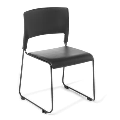 Slim Canteen Chair with Blue Vinyl seat