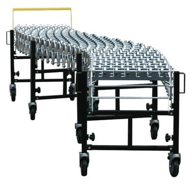 Flexi Conveyor, 460mm wide, 4m long, steel skate wheels