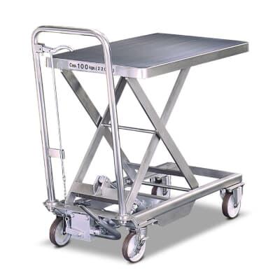 Stainless Steel Mobile Scissor Lift, 100kg, 450W x 700L