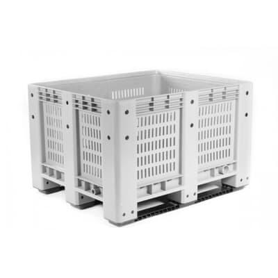 Box Pallet, vented, 600L, 1200W x 1000L x 760H, grey