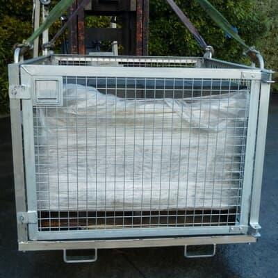 Crane goods cage, 1350W x 1350L x 1153H, galv
