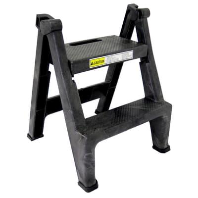 Two-step Folding Step Stool, black, 150kg capacity