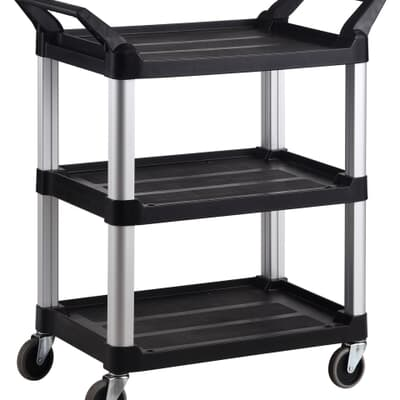 3 Tier Service Cart, Large, 1030L x 510W x 960H, Black