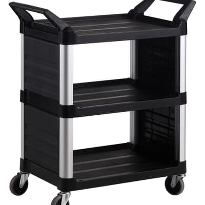 3 Tier Cart Closed sides, Small, 850L x 470W x 960H, Black