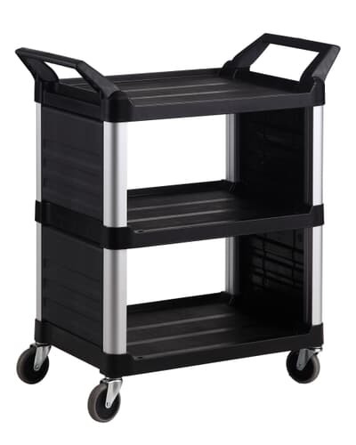 3 Tier Cart Closed sides, Large, 1030L x 510W x 960H, Black