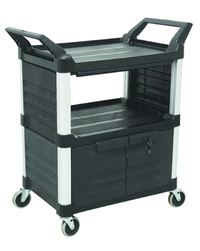 3 Tier Cart with lockable doors, 850L x 470W x 960H, Black